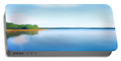 Portable Battery Charger featuring the painting Manasquan Reservoir by Catia Lee