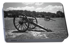 Portable Battery Charger featuring the photograph Manassas Battlefield 2 Bw by Frank Romeo