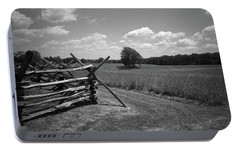 Portable Battery Charger featuring the photograph Manassas Battlefield Bw by Frank Romeo