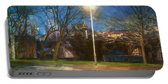 Manchester Street With Light And Trees Portable Battery Charger