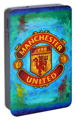 Manchester United Vintage Portable Battery Charger by Dan Haraga