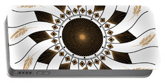 Portable Battery Charger featuring the digital art Mandala Black And Gold by Linda Lees