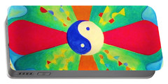 Portable Battery Charger featuring the painting Mandala by Denise Fulmer