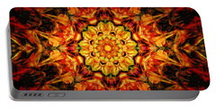 Mandala Of The Sun In A Dark Kingdom Portable Battery Charger by Anton Kalinichev