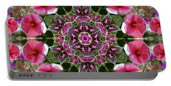 Portable Battery Charger featuring the digital art Mandala Pink Patron by Nancy Griswold