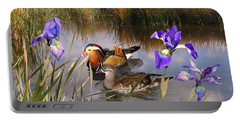 Mandarin Ducks And Wild Iris Portable Battery Charger
