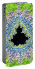Portable Battery Charger featuring the digital art Mandelbrot Fractal Greenery Rose Quartz Serenity by Matthias Hauser