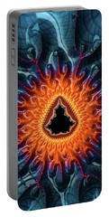 Portable Battery Charger featuring the digital art Mandelbrot Fractal Orange And Dark Blue by Matthias Hauser