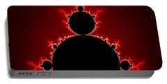Mandelbrot Set Black And Red Square Format Portable Battery Charger