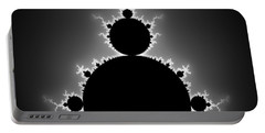Mandelbrot Set Black And White Fractal Art Portable Battery Charger