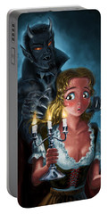 Portable Battery Charger featuring the digital art Manga Vampire And Woman Horror by Martin Davey