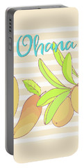 Mango Ohana Tropical Hawaiian Design Of Fruit And Family Portable Battery Charger by Tina Lavoie