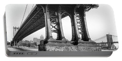 Portable Battery Charger featuring the photograph Manhattan Bridge, Afternoon by Gary Heller