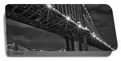 Manhattan Bridge Frames The Brooklyn Bridge Portable Battery Charger