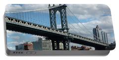 Manhattan Bridge In Blue Portable Battery Charger