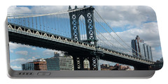 Manhattan Bridge In Blue Portable Battery Charger