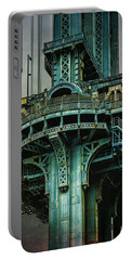 Portable Battery Charger featuring the photograph Manhattan Bridge Tower by Chris Lord