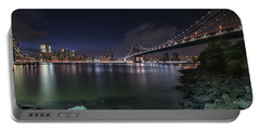 Manhattan Bridge Twinkles At Night Portable Battery Charger