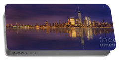 Manhattan, New York At Dusk Panoramic View Portable Battery Charger