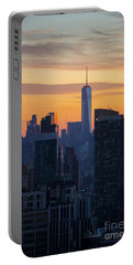 Manhattan Skyline At Dusk Portable Battery Charger