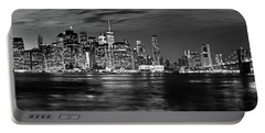 Manhattan Skyline At Dusk From Broklyn Bridge Park In Black And  Portable Battery Charger