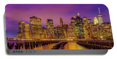 Portable Battery Charger featuring the photograph Manhattan Skyline At Sunset by Melanie Viola