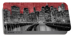 Manhattan Skyline - Graphic Art - Red Portable Battery Charger