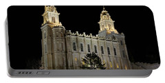 Manti Temple Night Portable Battery Charger by David Andersen