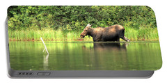 Portable Battery Charger featuring the photograph Many Glacier Moose 6 by Adam Jewell