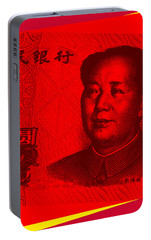 Portable Battery Charger featuring the digital art Mao Zedong Pop Art - One Yuan Banknote by Jean luc Comperat