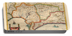 Map Of Andalusia 1650 Portable Battery Charger by Andrew Fare