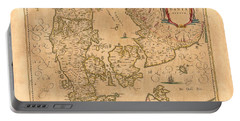 Map Of Denmark 1645 Portable Battery Charger by Andrew Fare