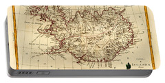 Map Of Iceland 1791 Portable Battery Charger by Andrew Fare
