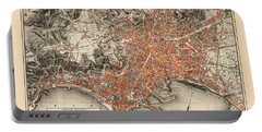 Map Of Naples 1860 Portable Battery Charger by Andrew Fare