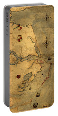 Map Of Outer Banks Vintage Coastal Handrawn Schematic On Parchment Circa 1585 Portable Battery Charger
