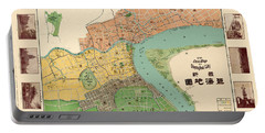 Map Of Shanghai 1908 Portable Battery Charger by Andrew Fare