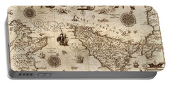 Map Of Sicily 1594 Portable Battery Charger by Andrew Fare