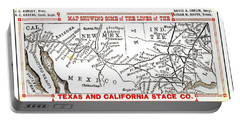 Portable Battery Charger featuring the drawing Map Of Some Of The Lines Of The Texas And California Stage Company Circa 1880s by Peter Gumaer Ogden