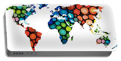 Map Of The World 1 -colorful Abstract Art Portable Battery Charger