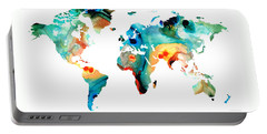 Map Of The World Portable Battery Chargers