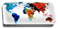 Portable Battery Charger featuring the painting Map Of The World 3 -colorful Abstract Art by Sharon Cummings