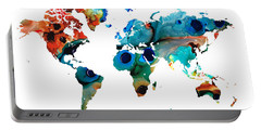 Map Of The World 6 -colorful Abstract Art Portable Battery Charger