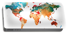 Map Of The World 7 -colorful Abstract Art Portable Battery Charger