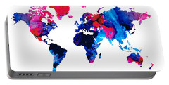 Map Of The World 9 -colorful Abstract Art Portable Battery Charger