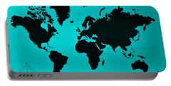Portable Battery Charger featuring the photograph Map Of The World Turquoise by Rob Hans
