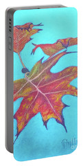 Portable Battery Charger featuring the drawing Drifting Into Fall by Phyllis Howard
