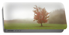 Portable Battery Charger featuring the photograph Maple Tree In Fog With Fall Colors  by Brooke T Ryan