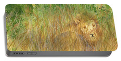 Portable Battery Charger featuring the painting Mara The Lioness by Vicki  Housel