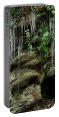 Portable Battery Charger featuring the photograph March Icicles 2 by Mike Eingle