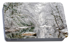 Portable Battery Charger featuring the photograph March Snow Along Cranberry River by Thomas R Fletcher
